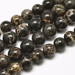 10 perles gemme  régalite magnésite noir veiné beige 8mm
