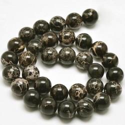 20 perles magnésite régalite noire veinée beige 6mm