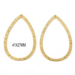 6 grands anneaux goutte connecteur doré 41x27mm