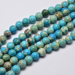 20 perles magnésite régalite turquoise bleu   veinée beige 4mm