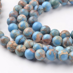20 perles magnésite régalite turquoise bleu ciel veinée beige 4mm