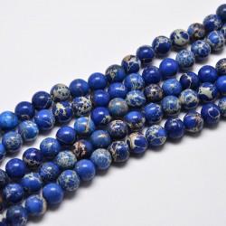 20 perles magnésite régalite   bleu nuit  veinée beige 4mm
