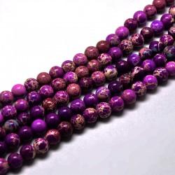 10 perles gemme  régalite magnésite prune  veiné beige 8mm