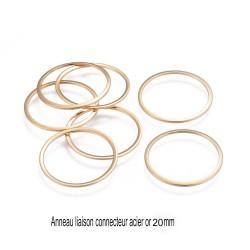 8 anneaux acier inoxydable fermé or 20 mm