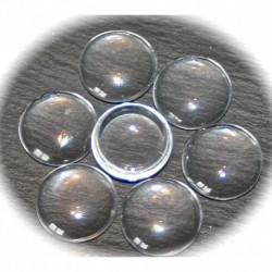 10 cabochons en verre transparent 20mm
