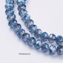 30 Perles cristal facette abaque bleu /gris 6x4mm