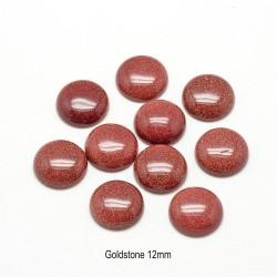 2 cabochons pierre Goldstone pailletée or 12mm
