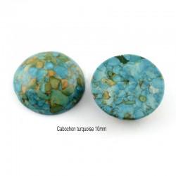 2 cabochons rond pierre gemme turquoise véritable 10mm