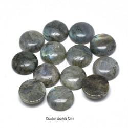 2 cabochons labradorite gris reflets bleu/vert 10mm