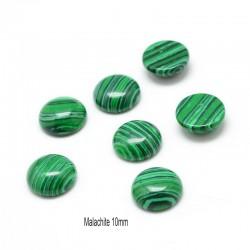 2 cabochons rond pierre gemme malachite reconstituée 10mm