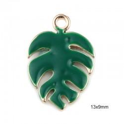 2 pendentifs sequin feuille émail vert 13x9mm