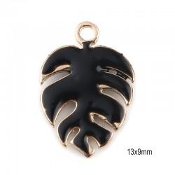 2 pendentifs sequin feuille Monstera émail noir 13x9mm