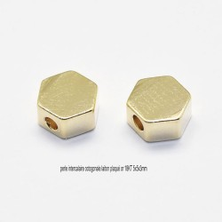 10 perles intercalaire octogonale  laiton plaqué or 18KT  5x5x3mm