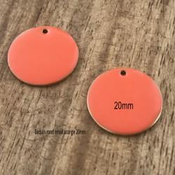 2 sequins rond laiton émaillés orange 20mm