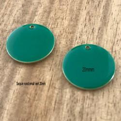 2 sequins rond laiton émaillés vert  20mm