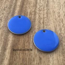 2 breloques sequin rond laiton émaillés bleu  20mm
