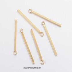 6 breloques batons rectangle acier or 28x1.5mm
