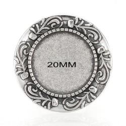 5 supports bague ronde réglable collerette fleurs argenté 20mm