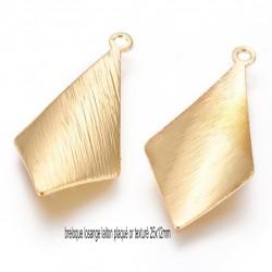 6 pendentifs losange laiton plaqué or texturé 25x12mm