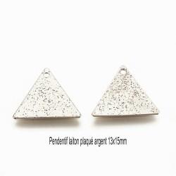 8 pendentifs triangle laiton plaqué argent texturé 13x15mm
