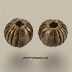 20 perles intercalaire rondes striée couleur bronze 4mm
