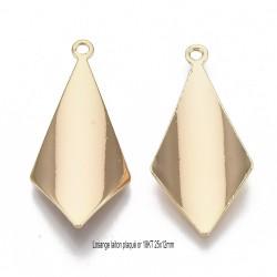 4  pendentifs losange concave laiton plaqué or 18KT 25x12mm