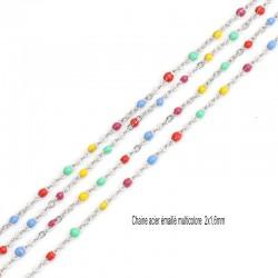 1 M chaine acier inoxydable émaillée multicolore 1.5x1.5mm