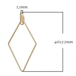 2 connecteurs losange support boucle d'oreille  doré 46x22mm