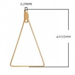 2 connecteurs triangle support boucle d'oreille  doré 42x25mm