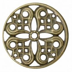 10 estampes rond vintage filigrane  bronze 24mm