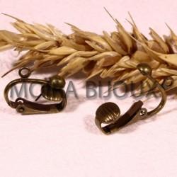 2 paires  boucle d'oreille laiton clip couleur bronze  16mm