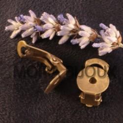 2 supports boucle d'oreille clip laiton bronze plateau12mm
