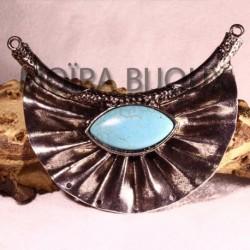 1grand connecteur pendentif plastron ethnique metal argenté 89x70mm