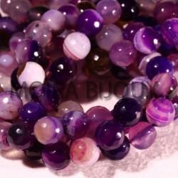 6 perles agate facettée enrubannée lilas-prune 8mm