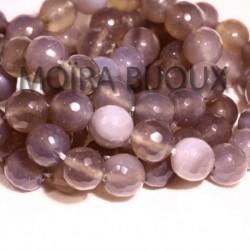 6 perles agate facettée grise et blanche  transparente  10mm