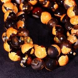 6 perles agate facettée orange marbre noire 10mm